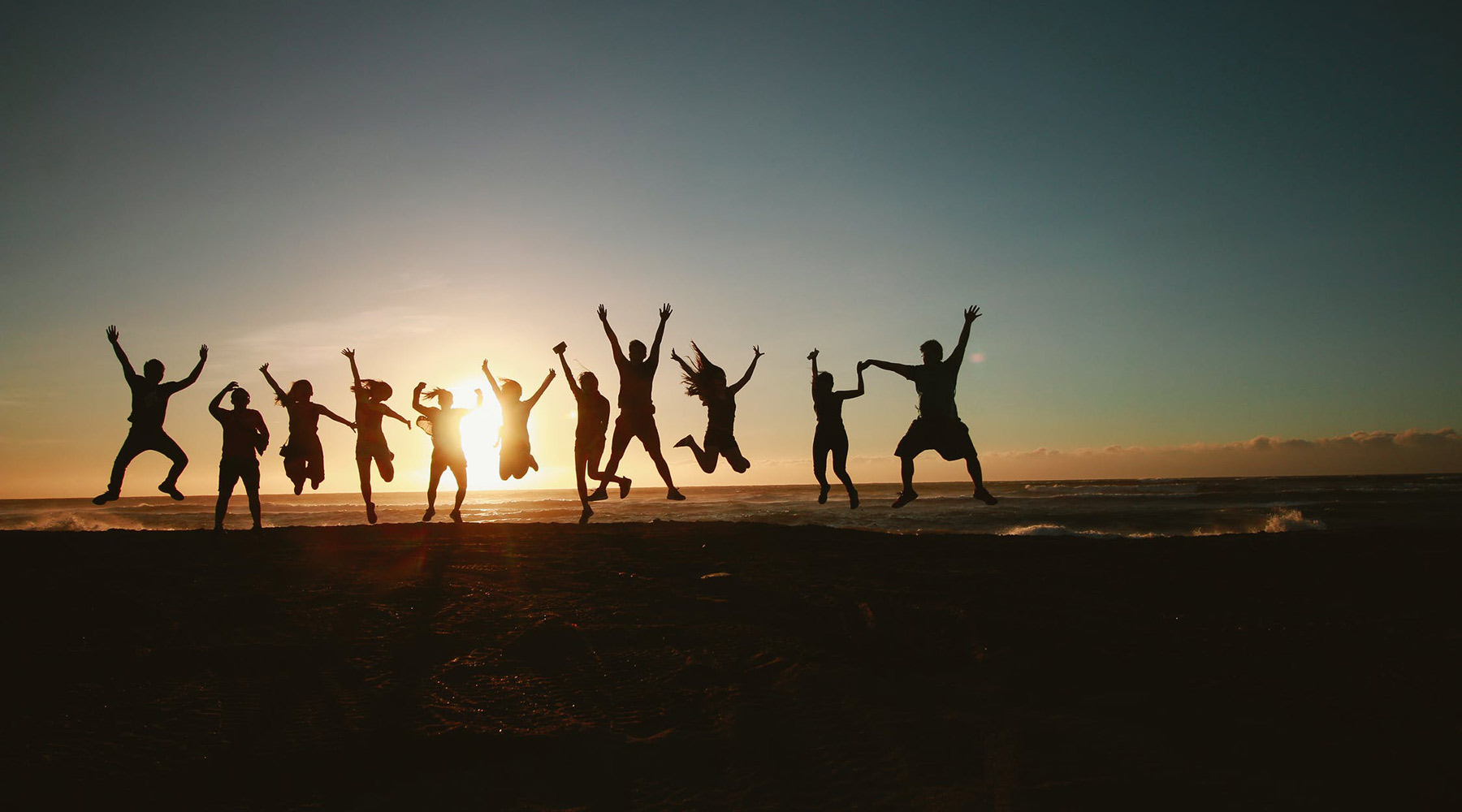 Sunset jump group picture