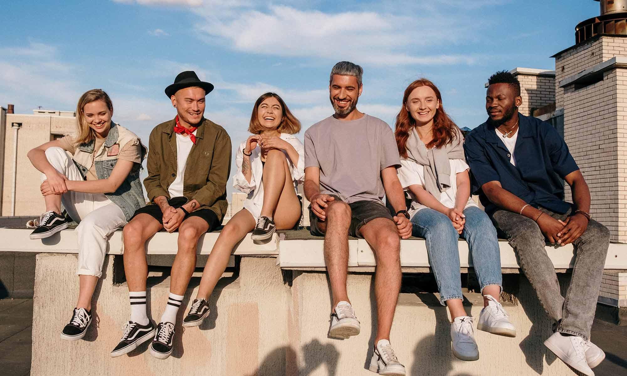 Diverse group sitting together